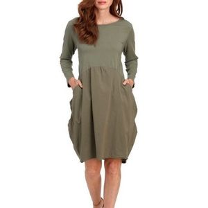 VASNA Solid Drape Pocket Dress